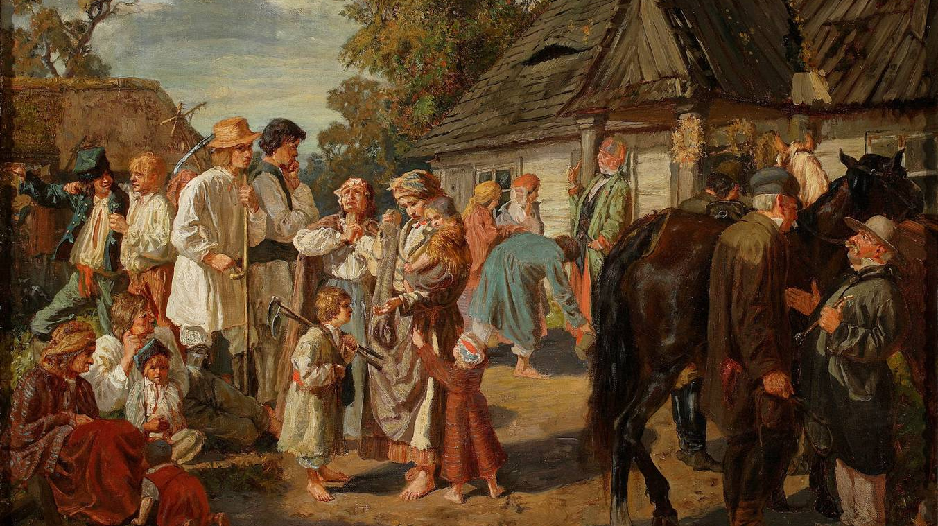 Йозеф Хельмонский. Выдача оплаты (суббота на фольварке). 1869 год