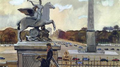 Александр Дейнека. Париж. Площадь Согласия. 1935 (фрагмент)