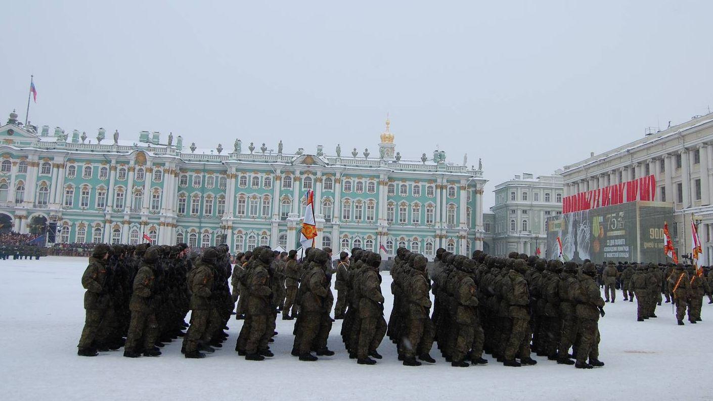 Прохождение подразделений частей Западного военного округа, Дворцовая площадь, Санкт-Петербург