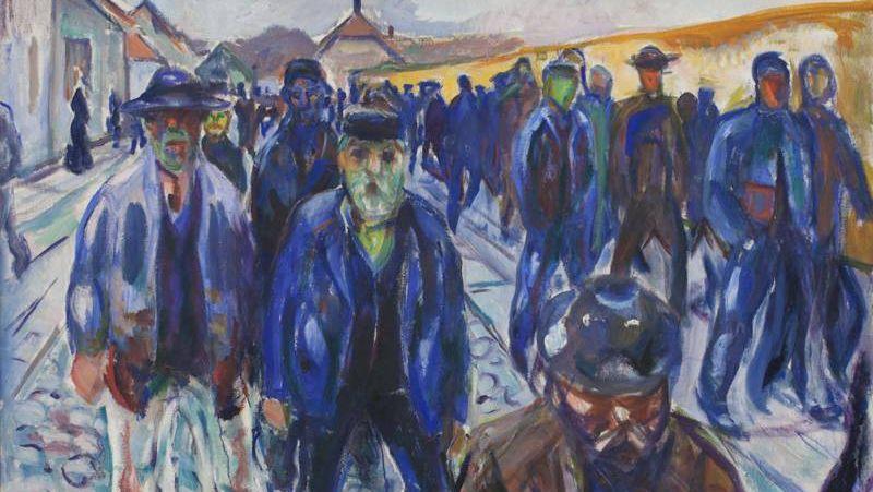 Эдвард Мунк. Рабочие на пути домой (фрагмент). 1915