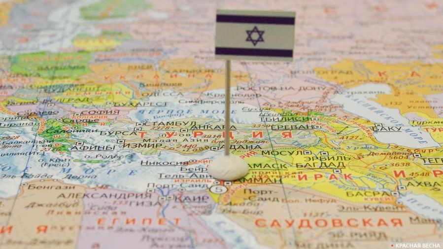 Флаг Израиля на карте мира