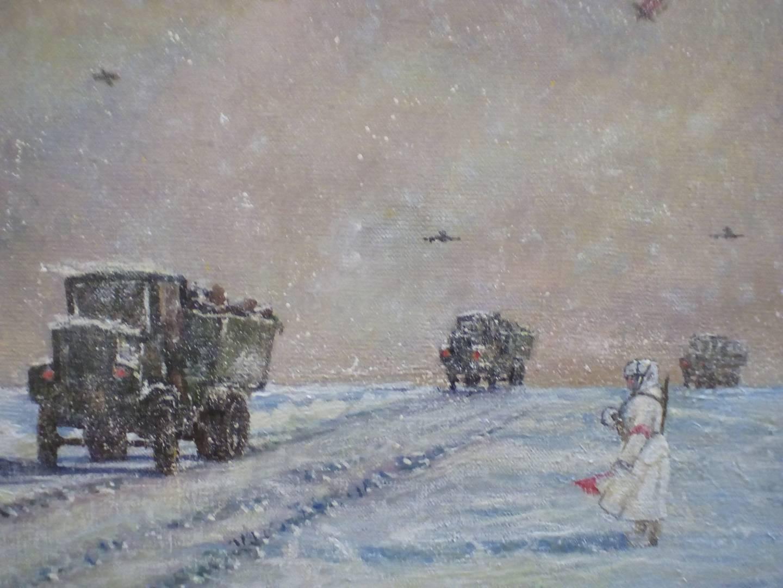 Фото картины «Ладога - Дорога жизни» с выставки в петербургском Союзе художников