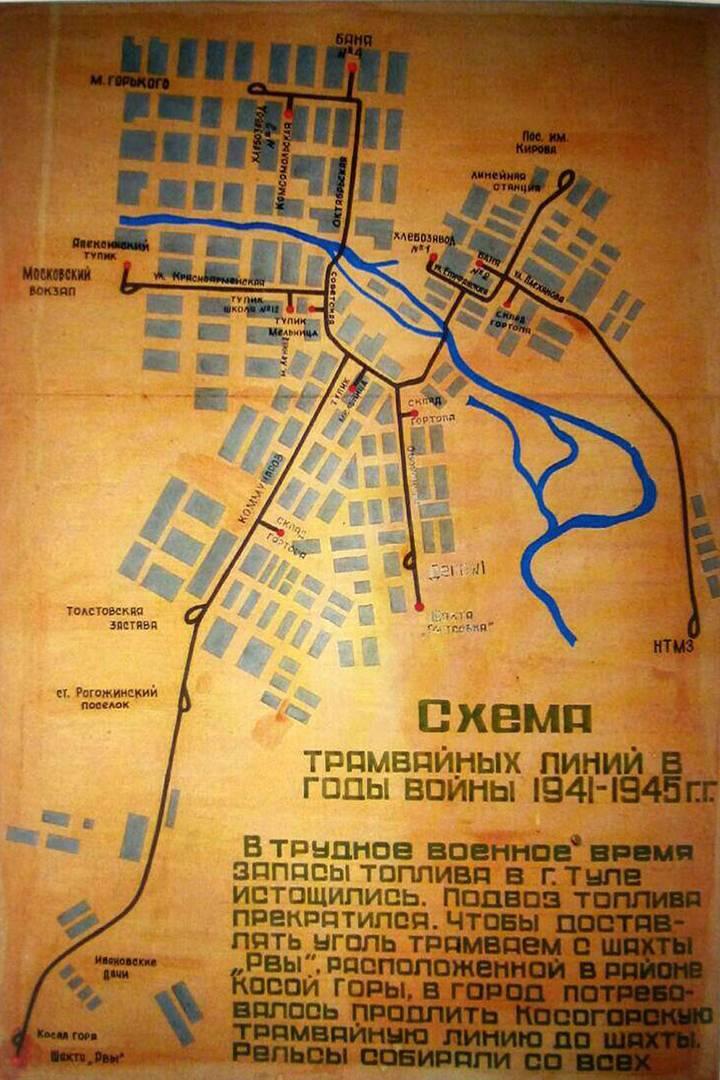 Схема трамвайных линий Тулы во время войны