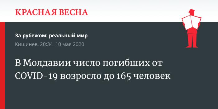 В Молдавии число погибших от COVID-19 возросло до 165 человек
