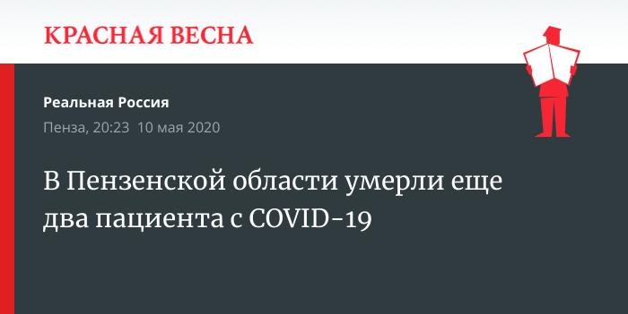 В Пензенской области умерли еще два пациента с COVID-19